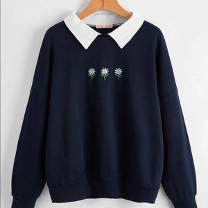NEW cute collar flower embroidery sweatshirt